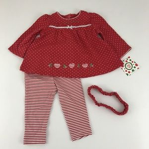 Little Me Girls Red Christmas 3pc Outfit  9M